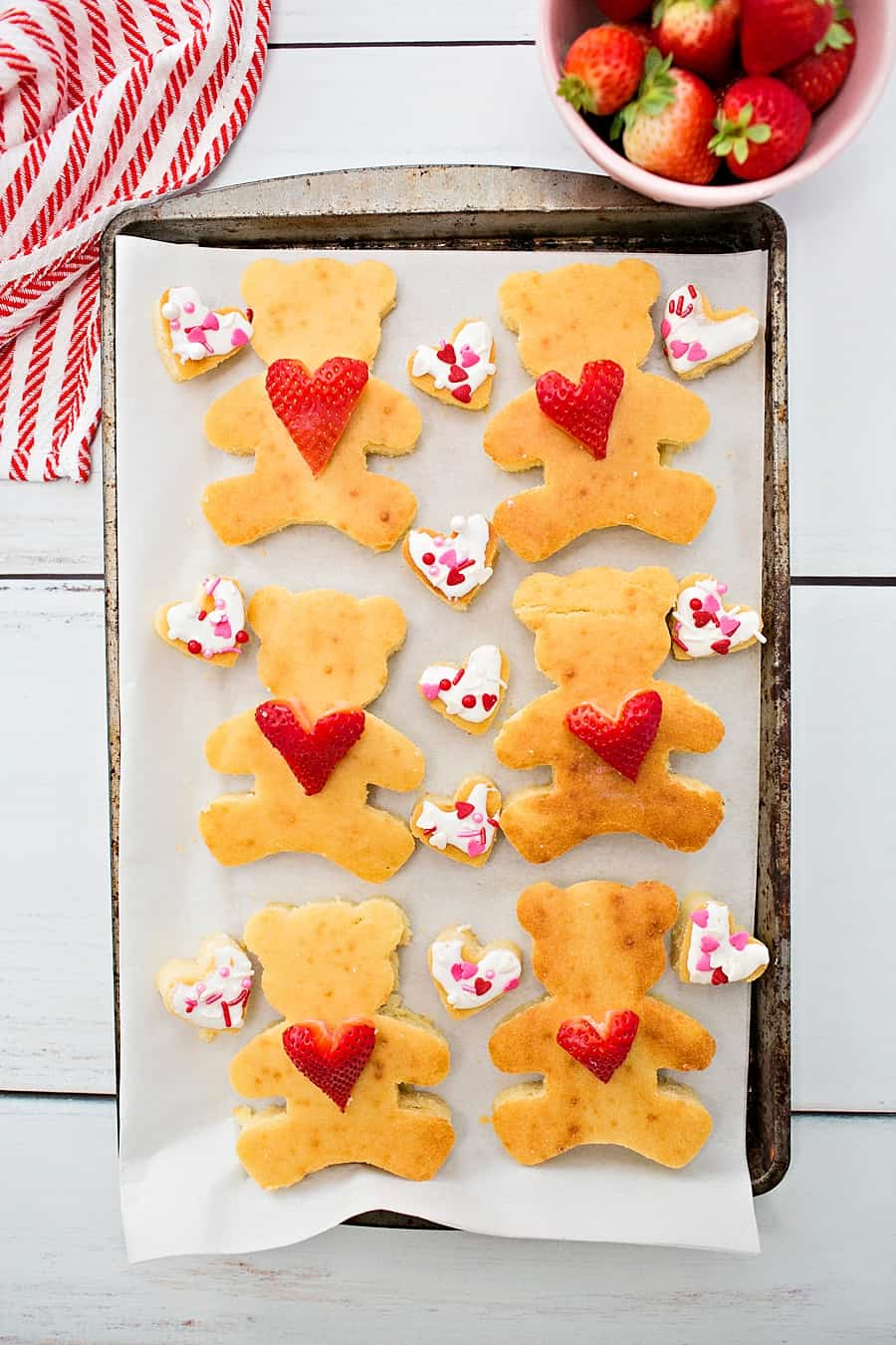 Make these yummy sheet pan bear heart pancakes for Valentine's Day breakfast to surprise the kids with a sweet treat
