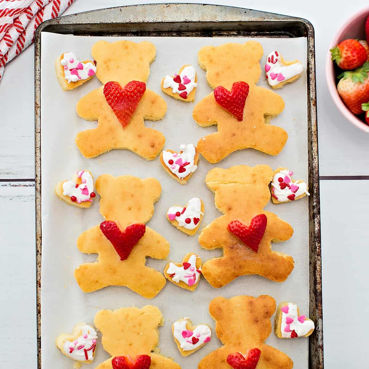Sheet Pan Bear Heart Pancakes