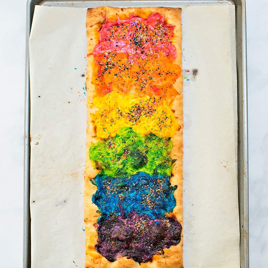 Rainbow Glitter Unicorn Pizza