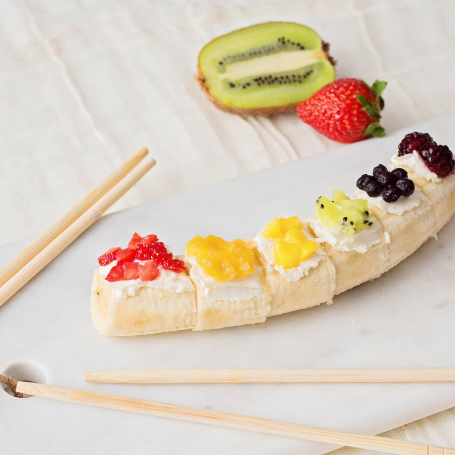 Rainbow Fruit Banana Sushi