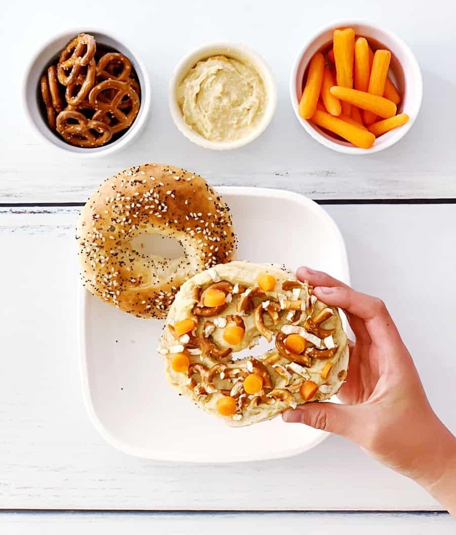 Carrot Hummus Pretzel Bagel Sandwich