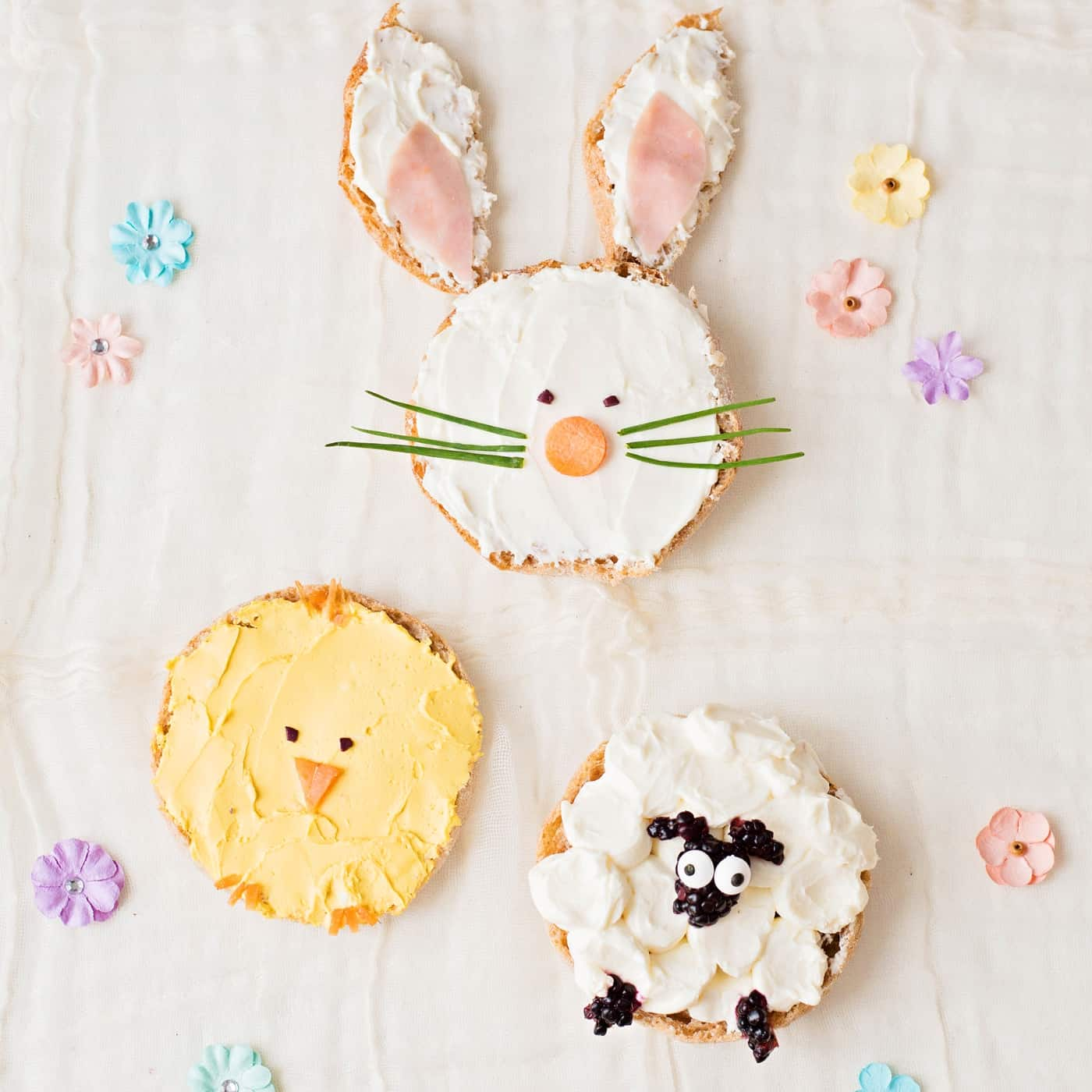 Bunny Chick and Sheep Easter Toast