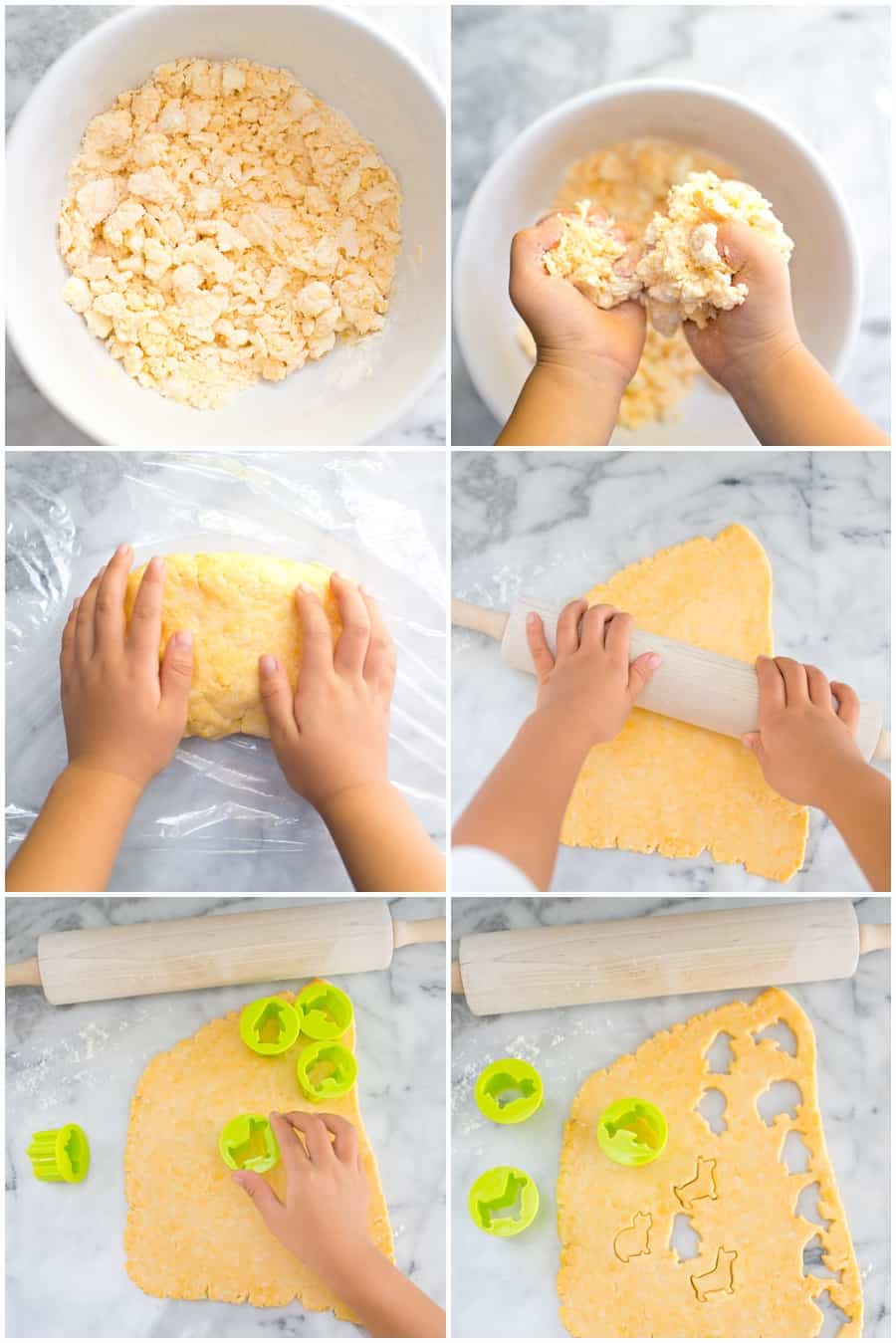 Step by step process photos of how to make homemade cheese animal crackers
