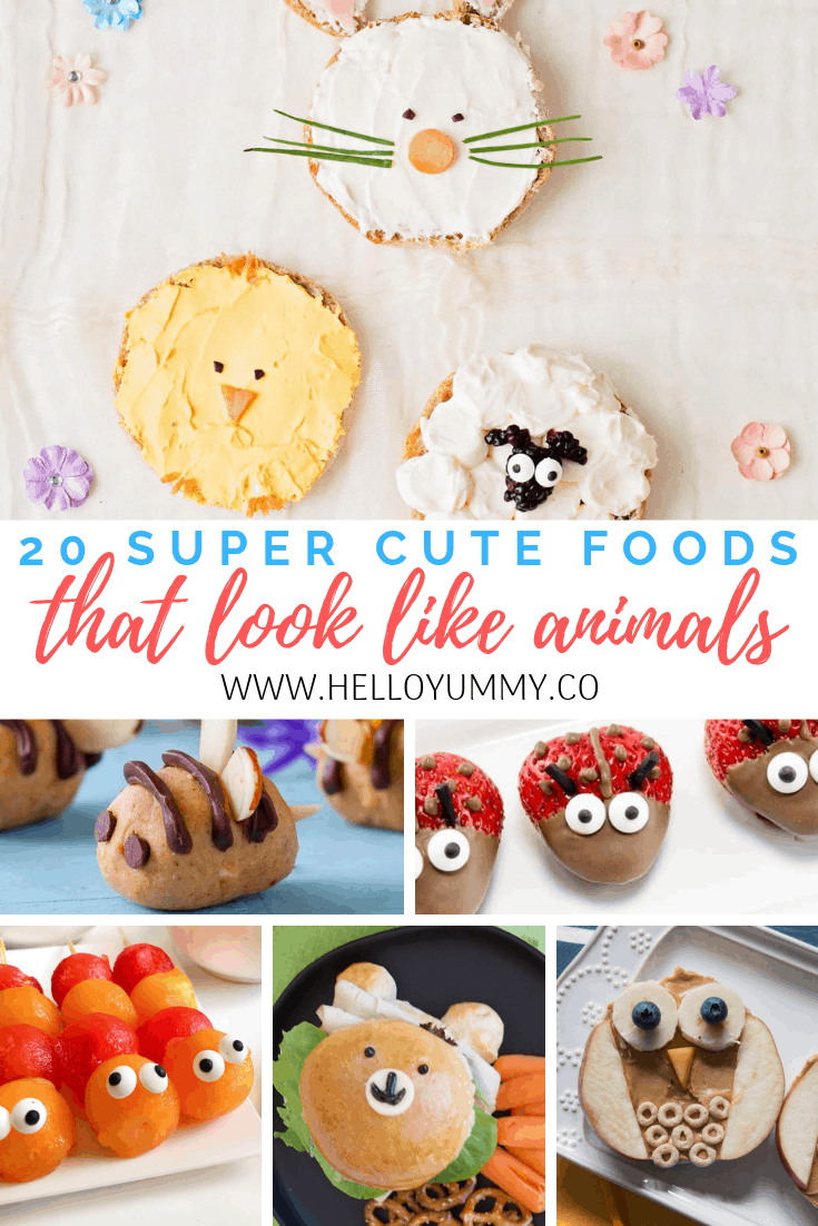 Cute foods that look like animals. Adorable kid snacks or lunch.