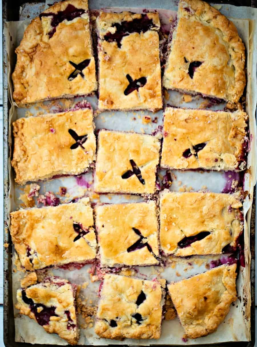 Raspberry Blueberry Slab Pie. Delicious and easy patriotic dessert for Memorial Day or Fourth of July.