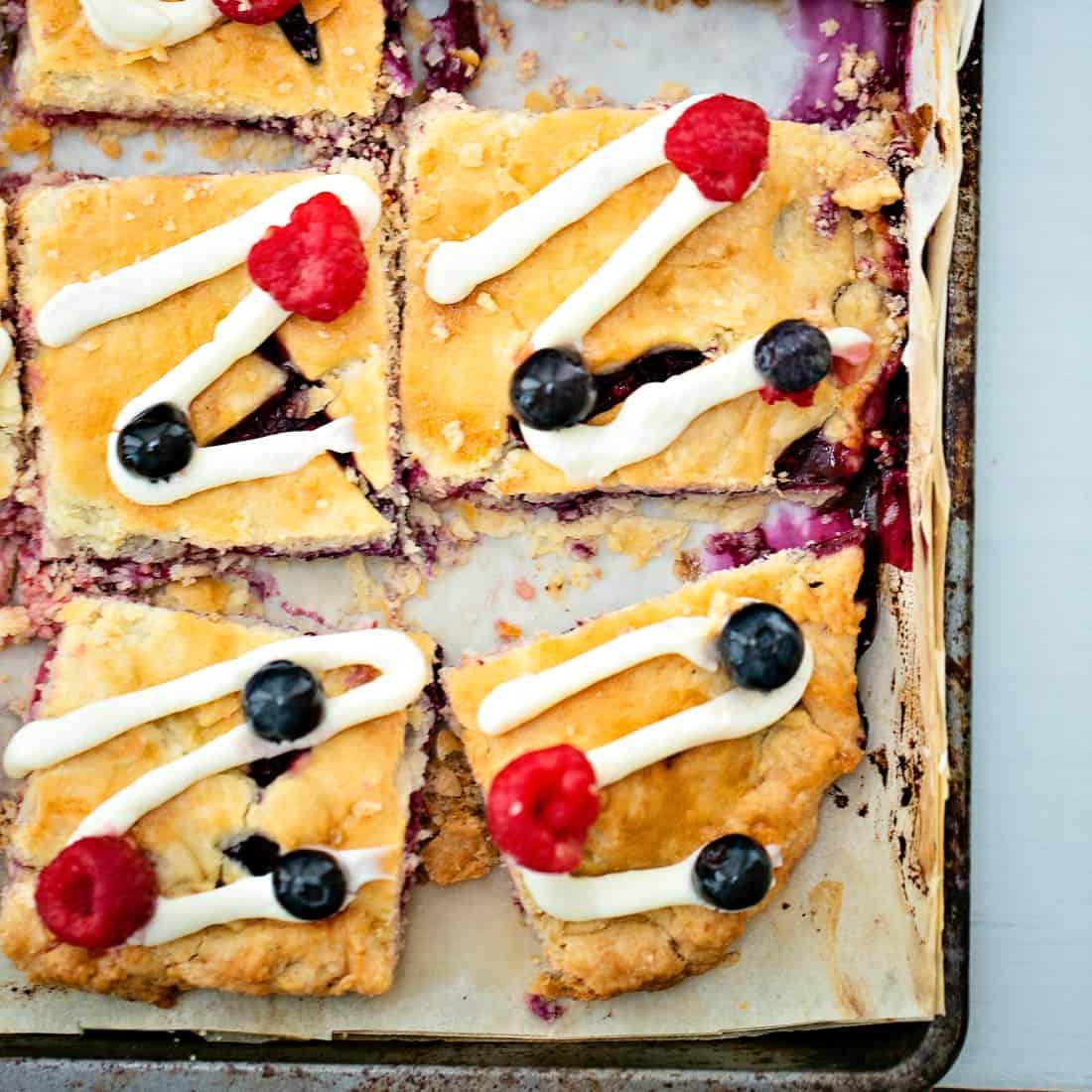 Raspberry Blueberry Slab Pie Patriotic Dessert