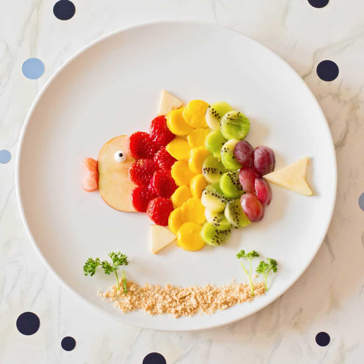 Rainbow Fruit Art For Kids | Simple Fish Food Art