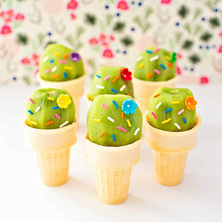 Cactus Kiwi Fruit Ice Cream Cones cute kid summer snack