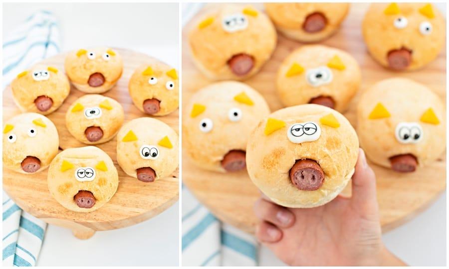 Easy pigs in a blanket in a bread roll