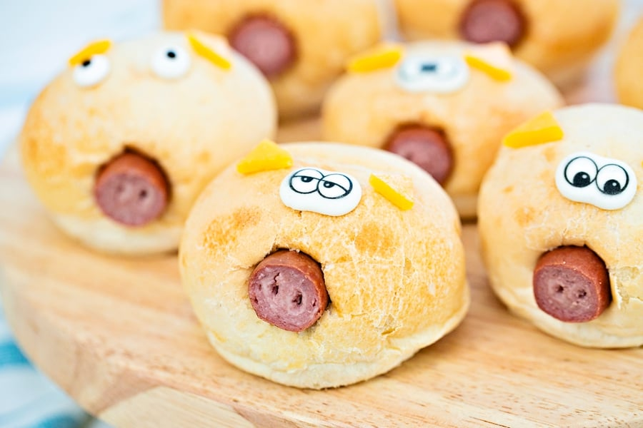 hot dog in a bread roll to make pigs in a blanket