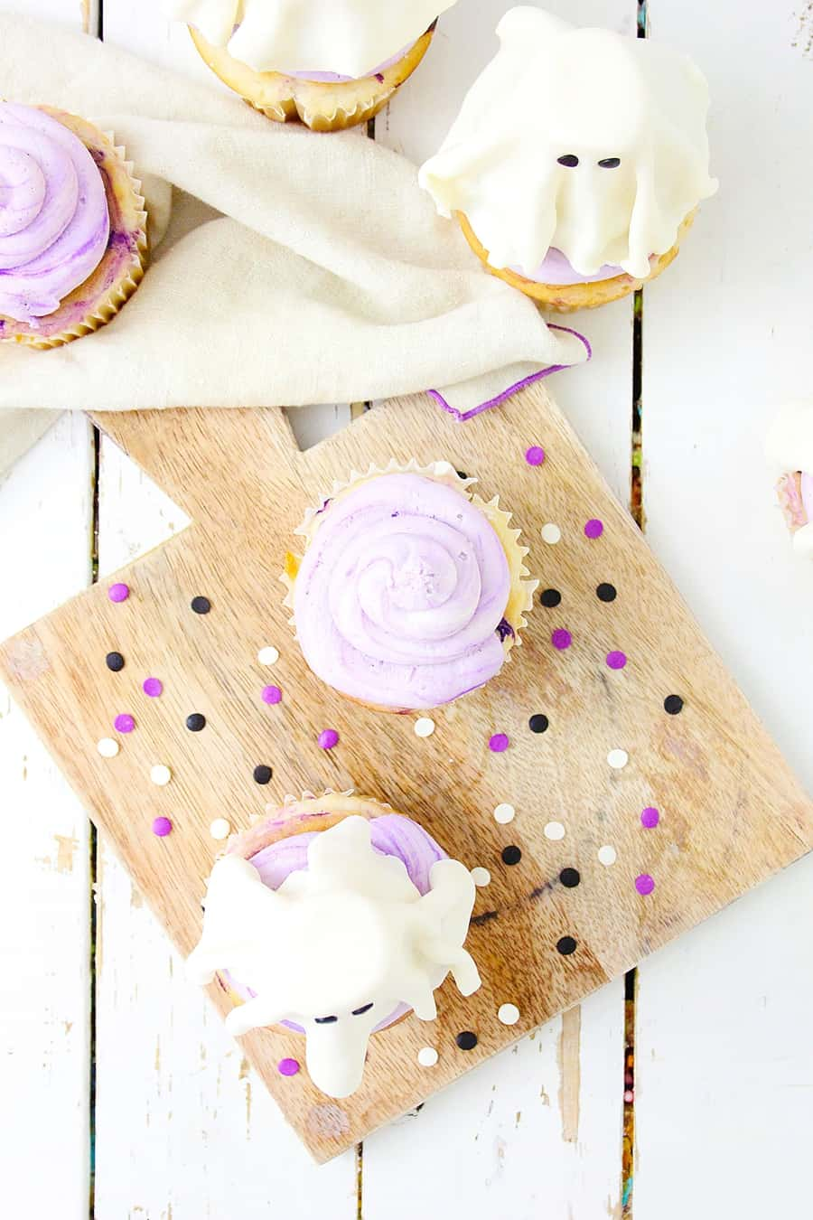 ghost cupcakes top down shot