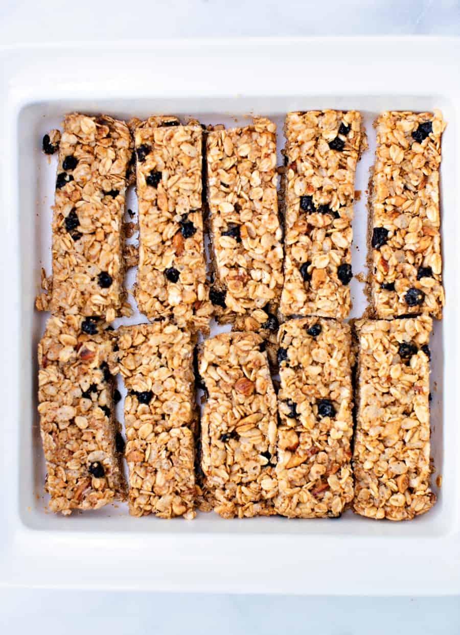 No Bake Blueberry Almond Granola Bars in a baking pan