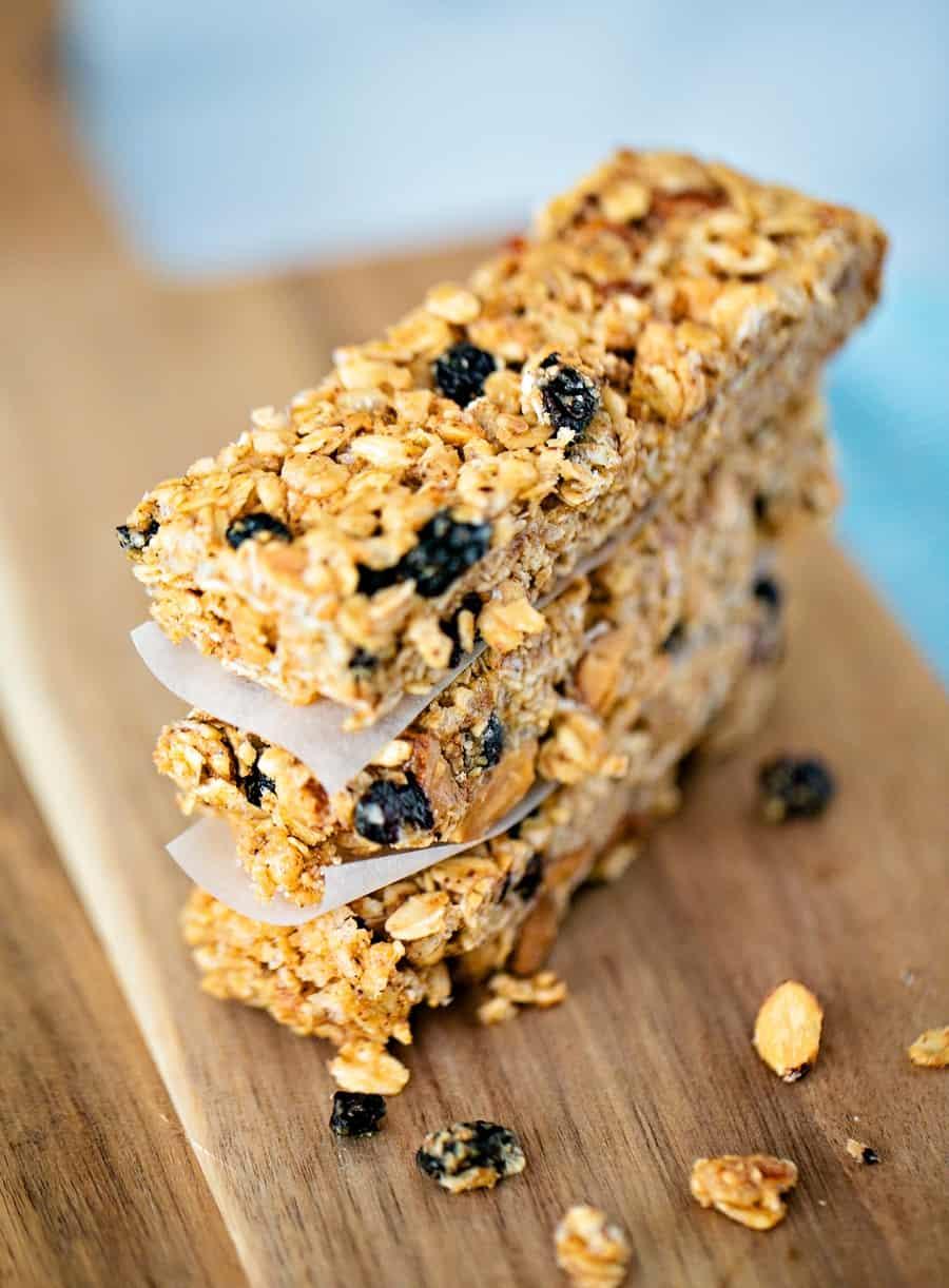 No Bake Blueberry Almond Granola Bars