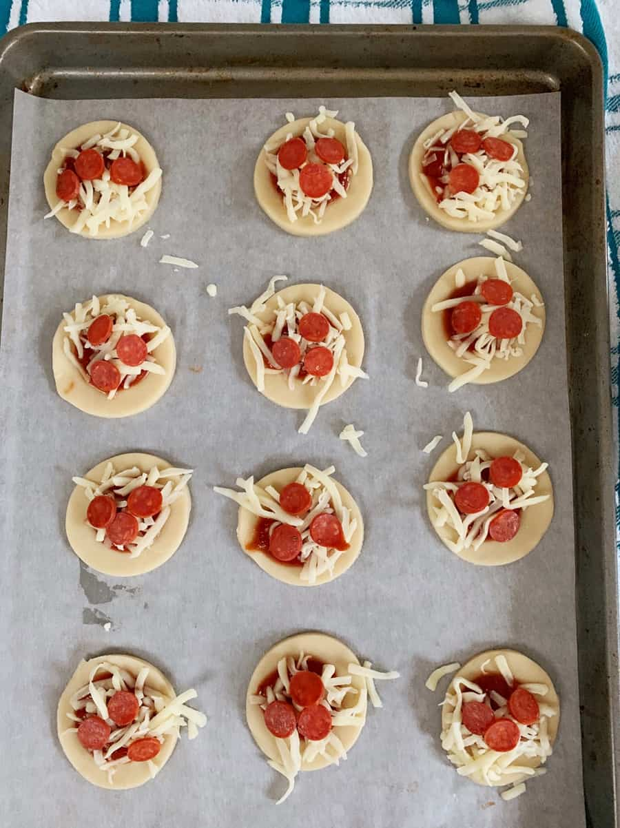 Mini Pizza Hand Pies - open face, process