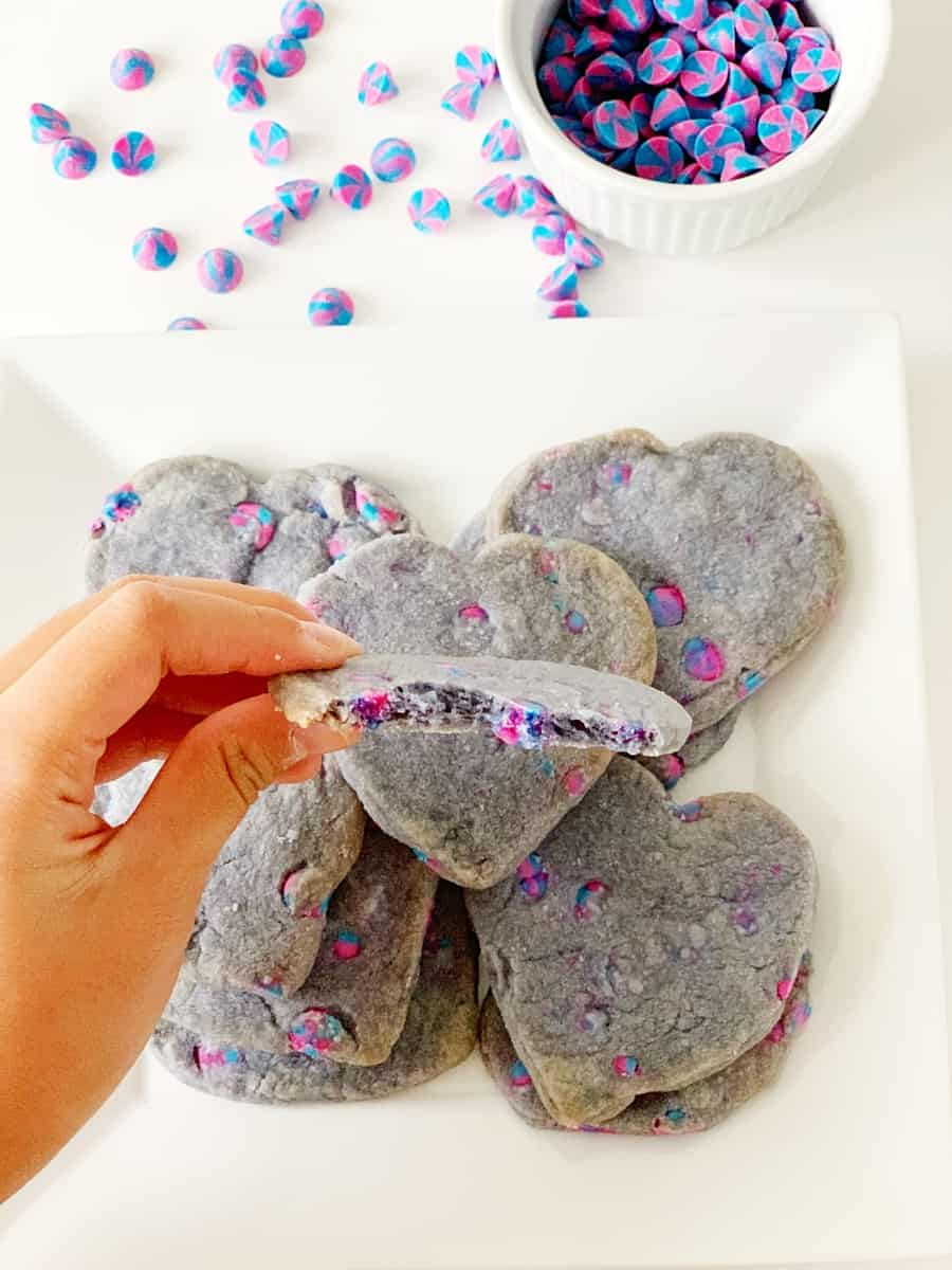 easy unicorn shortbread cookies with unicorn chip morsels