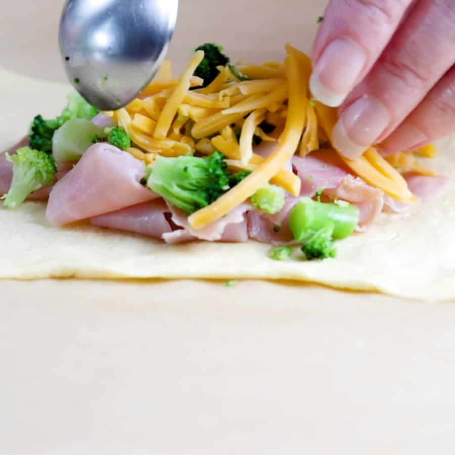 Ham and Broccoli Cheddar Cheese Bombs - filling