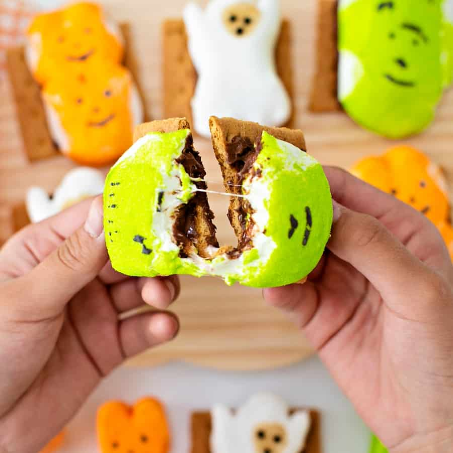 Easy Halloween S'mores - cute Halloween treat for kids with Peeps marshmallows