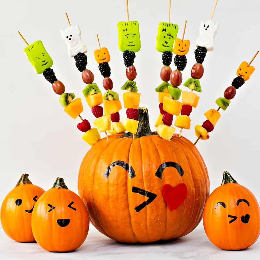 pumpkin fruit skewer Halloween treat for kids