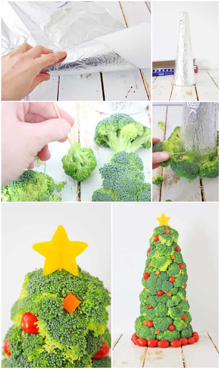 Broccoli Christmas Tree Healthy Holiday Snack for Kids - process