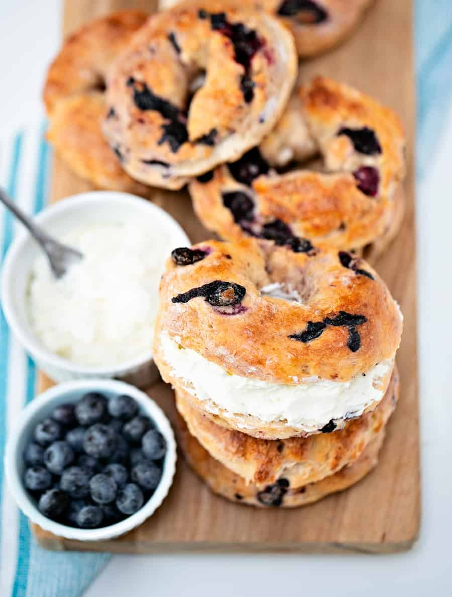 Easy Two Ingredient Blueberry Bagels - easy delicious breakfast recipe