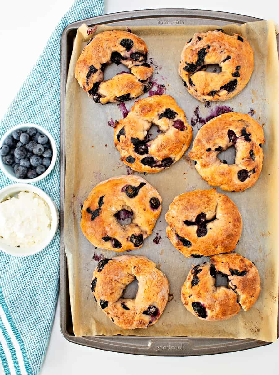 Easy Two Ingredient Blueberry Bagels