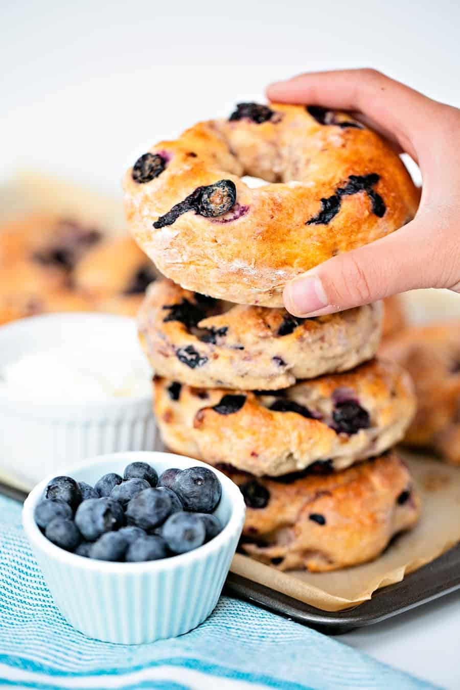 Easy Two Ingredient Blueberry Bagels - easy breakfast recipe