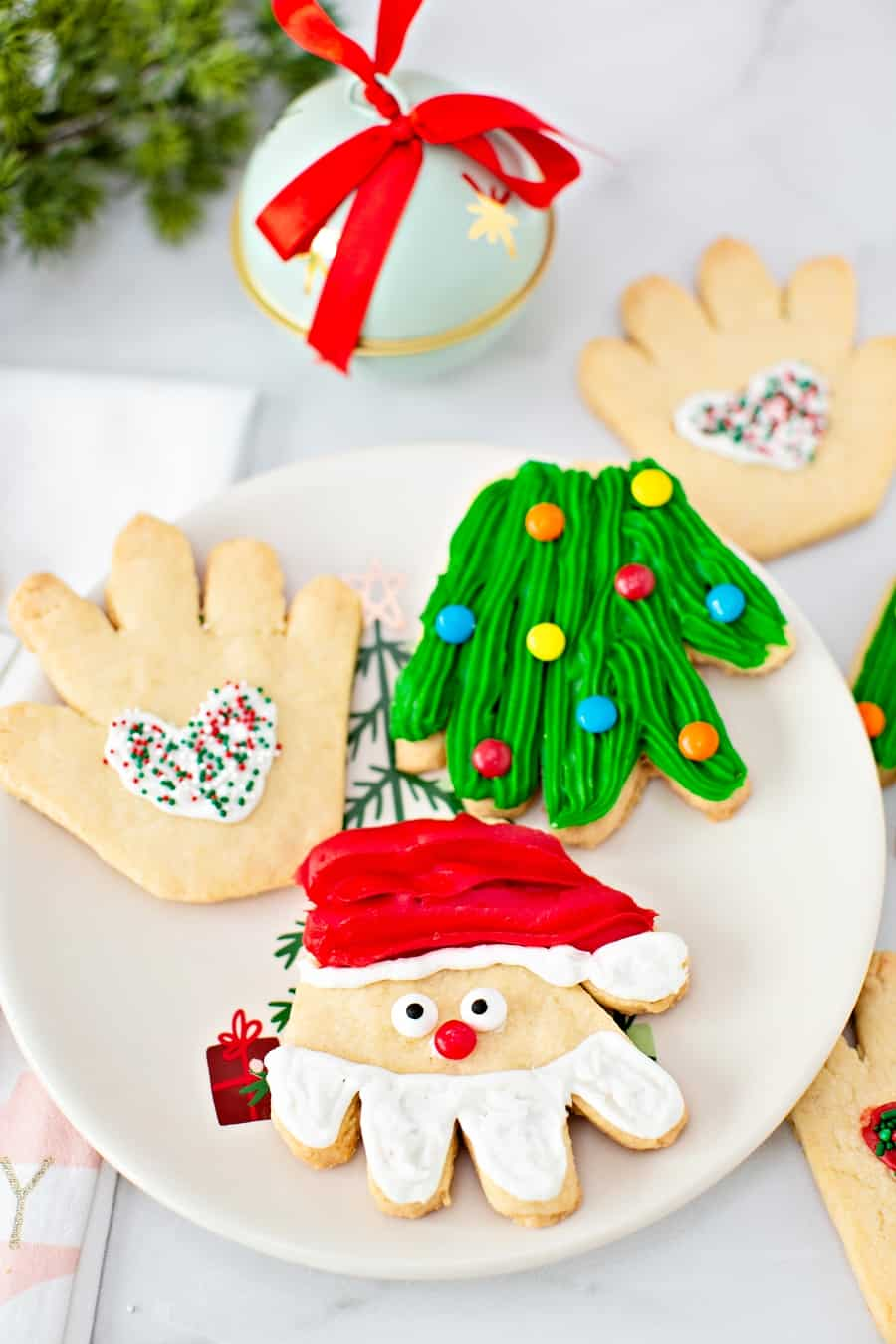 Handprint Christmas Sugar Cookies -cute holiday treat for kids