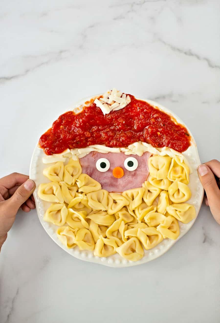 Santa Pasta Christmas Dinner idea for kids