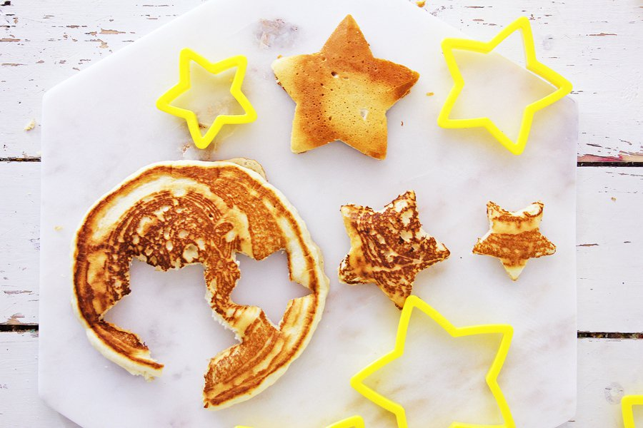 Stacked Christmas Tree Pancakes - cute holiday breakfast for kids