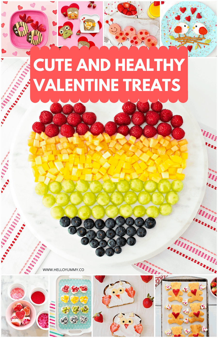 Cute and Easy Healthy Valentine Treats for Kids. Collage image.