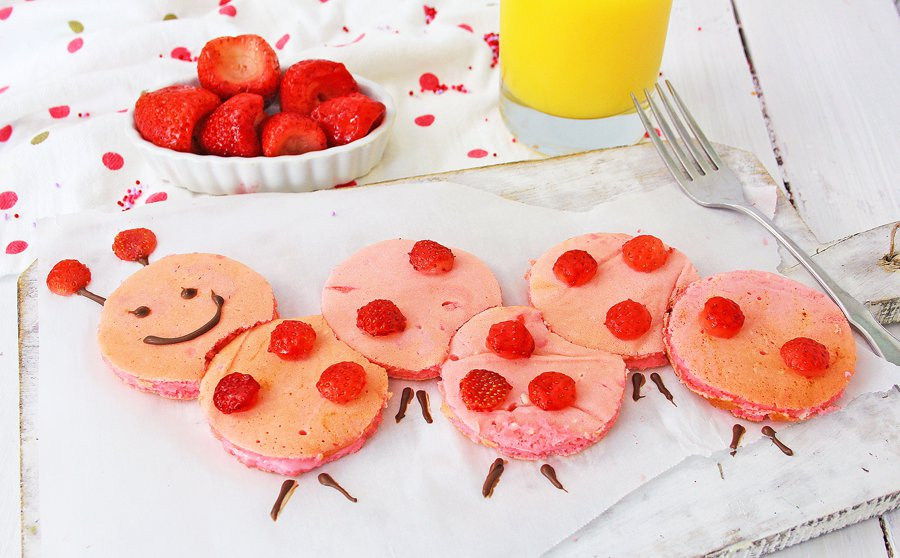 Valentine's Day Caterpillar Pancakes for kids breakfast or brunch.