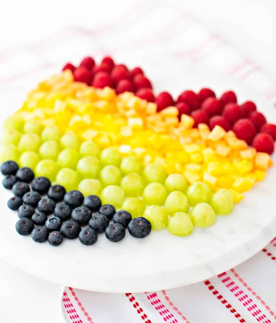 Rainbow Fruit Heart Healthy Valentine Snack