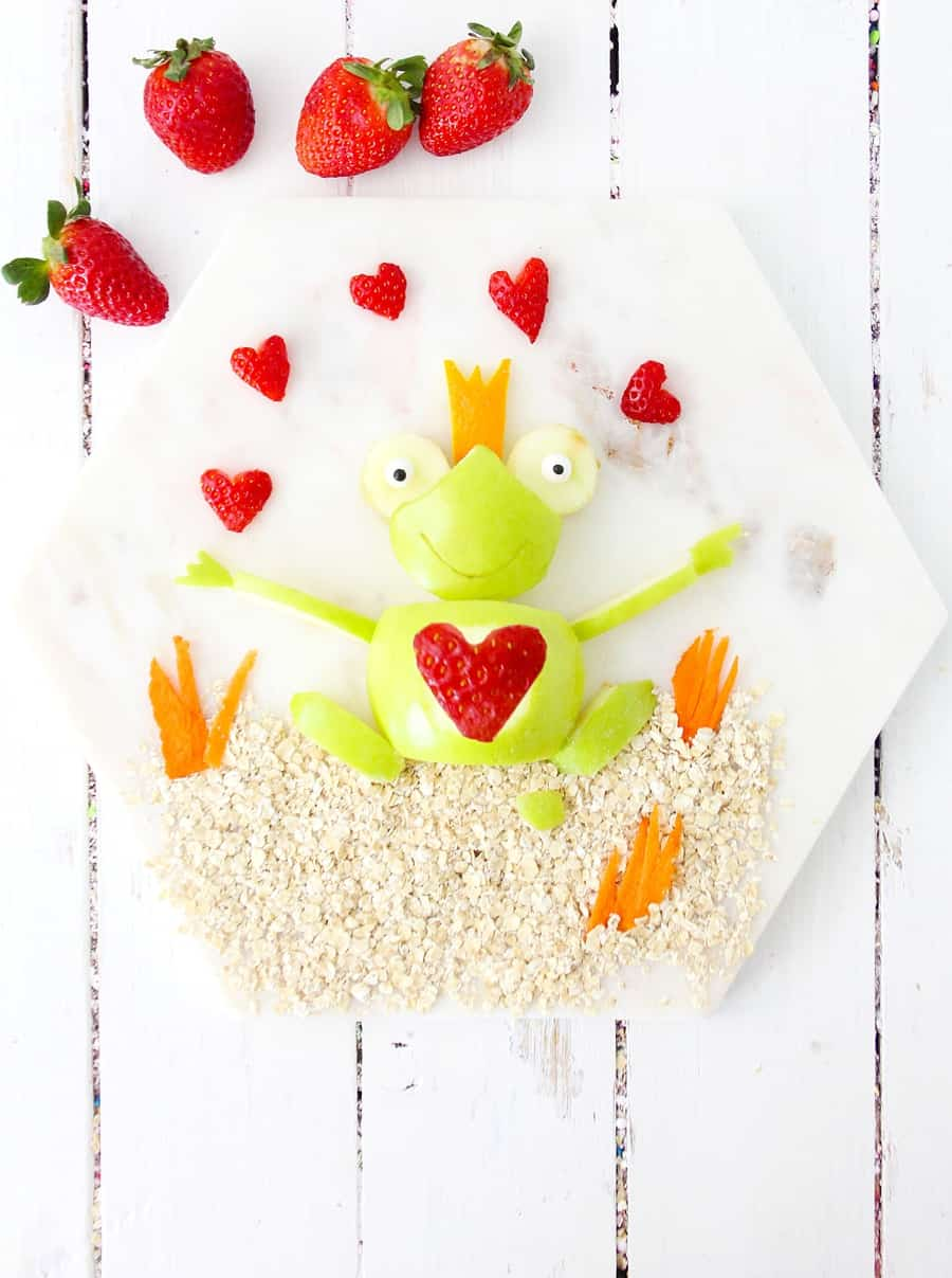 Valentine Apple Frog is a healthy Valentine's Day snack for kids