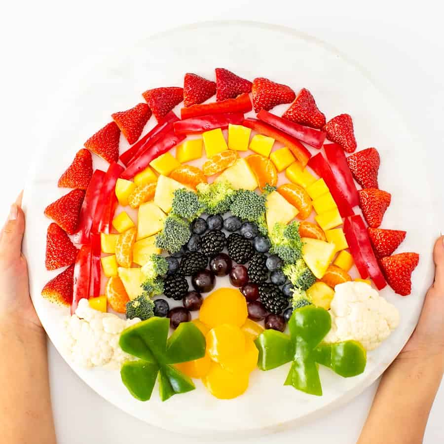 St. Patrick's Day Fruit and Veggie Tray. Healthy St. Patrick snack for kids.