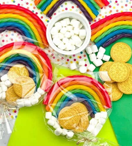 St. Patrick's Day Favors With Gold Coins And Rainbows