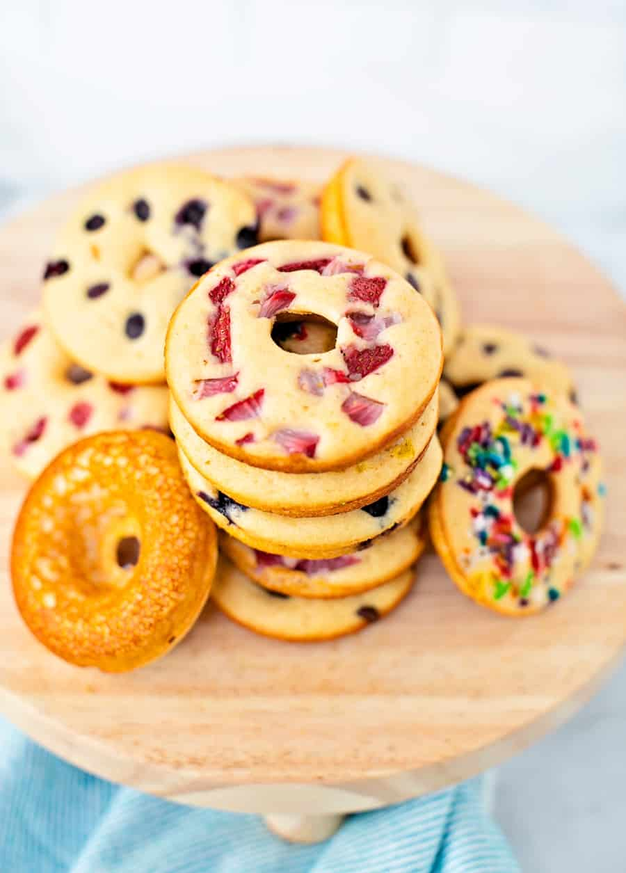 Pancake Donuts made from a pancake mix. Kid-friendly breakfast.
