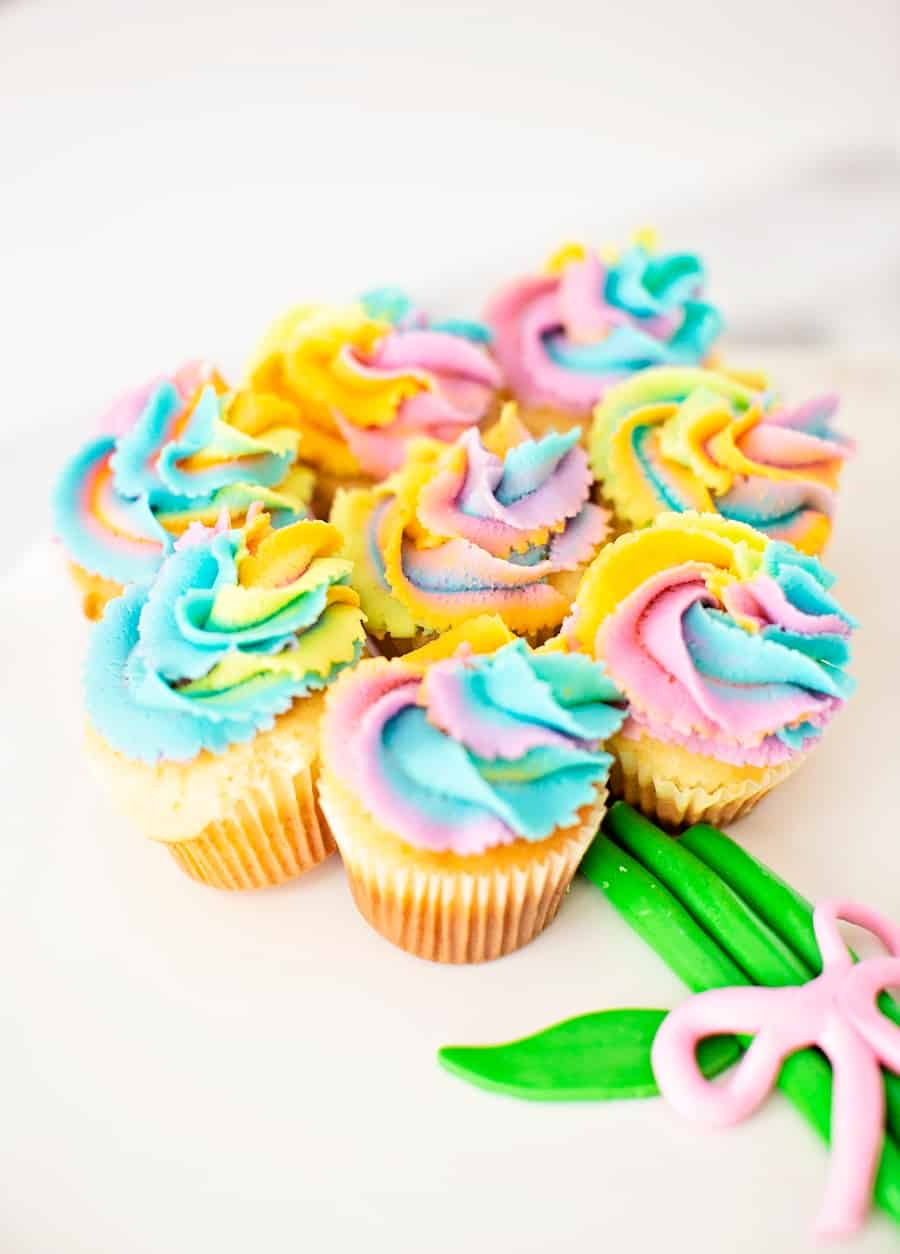 Mother's Day Rainbow Flower Cupcakes