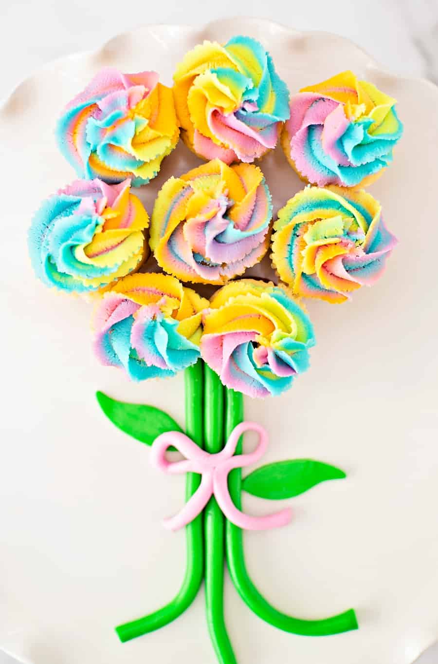 Easy Rainbow Cupcake Flower Bouquet