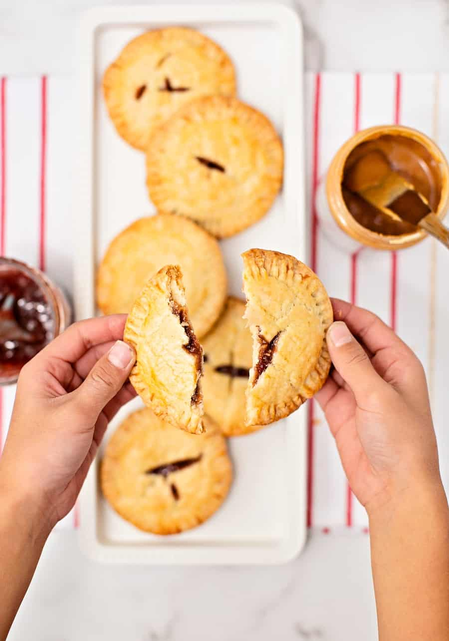 Peanut Butter and Jelly sandwich Hand Pies. Easy kid-friendly snack on the go.