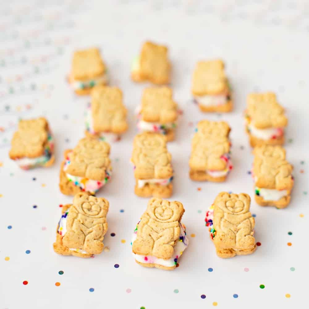 mini teddy bear graham ice cream sandwiches