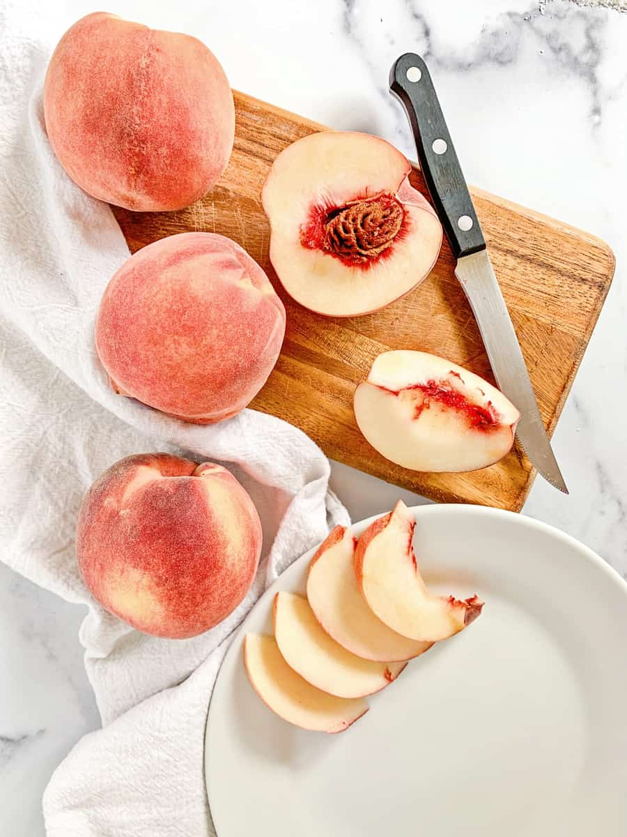 cut sliced peaches