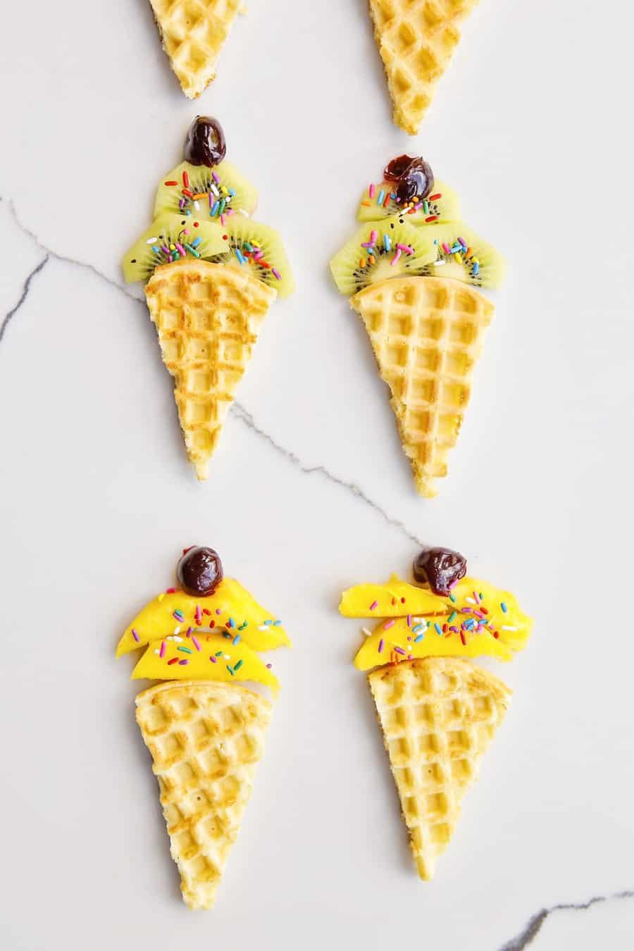 Waffle Fruit Ice Cream Cones