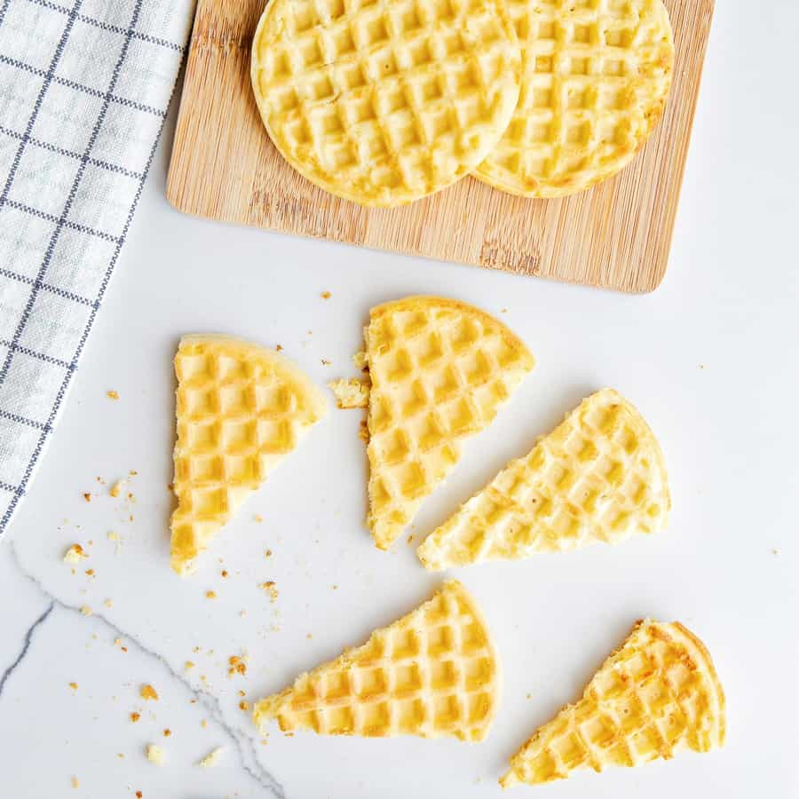 sliced waffles cut into ice cream cone shapes