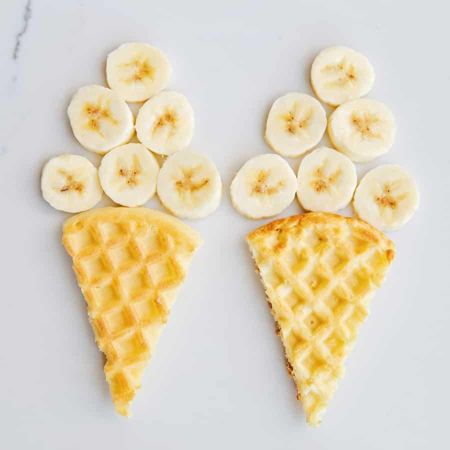 waffle banana ice cream cones