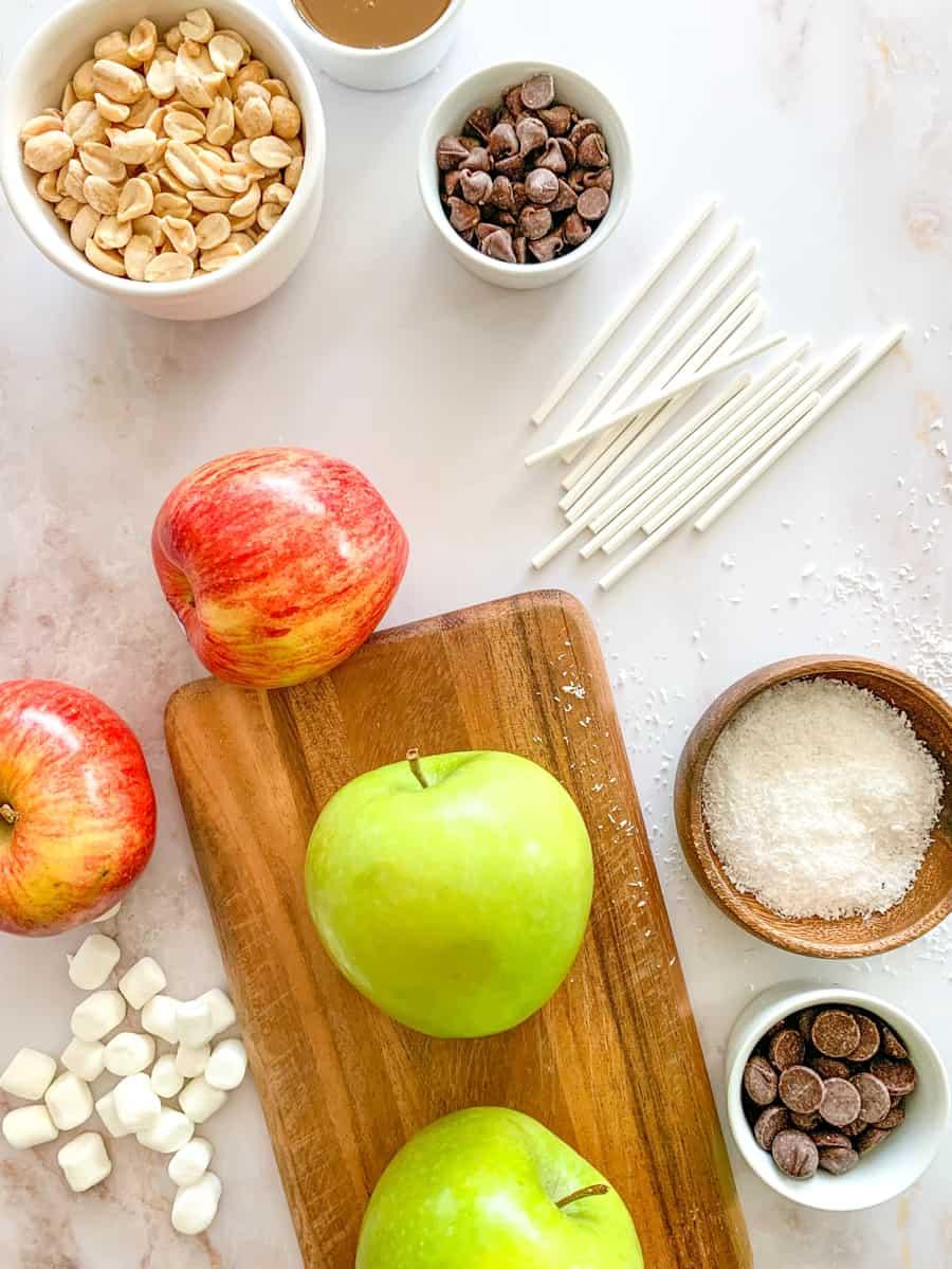 toppings to make caramel apple lollipops