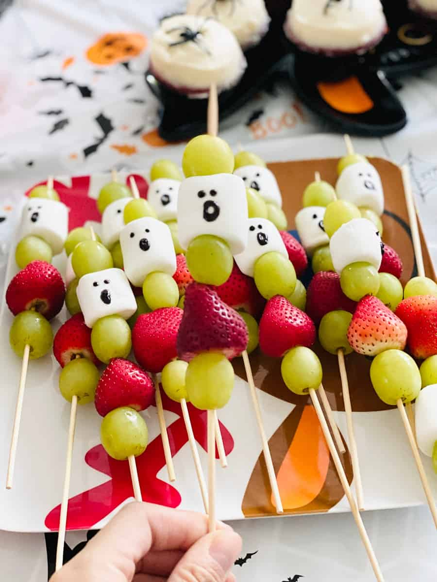 ghost fruit marshmallow skewers