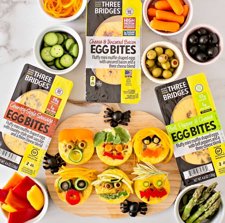 Three Bridges Egg Bites Monster Faces Cute Halloween Snack or Lunch for Kids