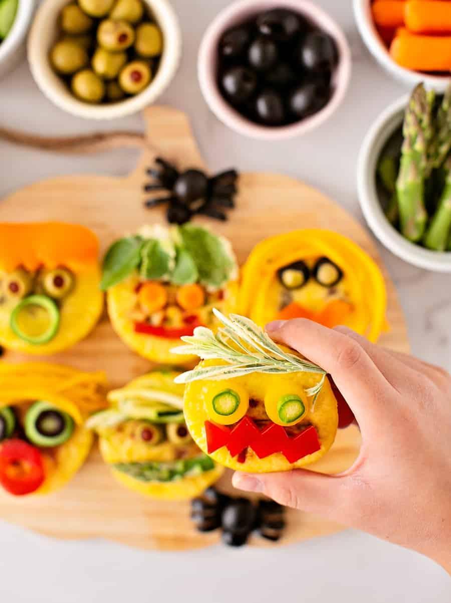 Egg Bites Monster Faces Cute Halloween Snack or Lunch for Kids