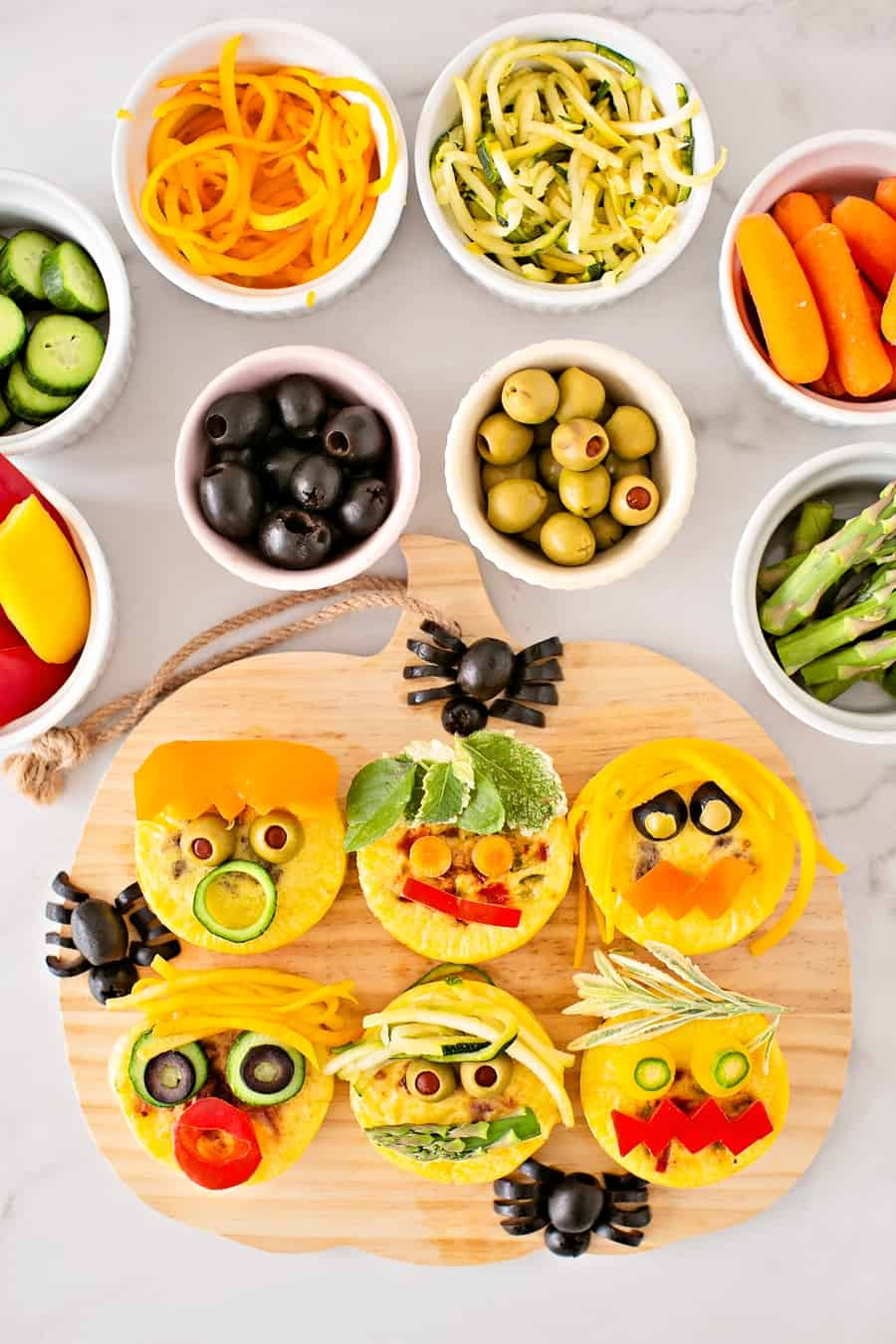 Egg Bites Monster Faces Cute Halloween Snack or Lunch for Kids