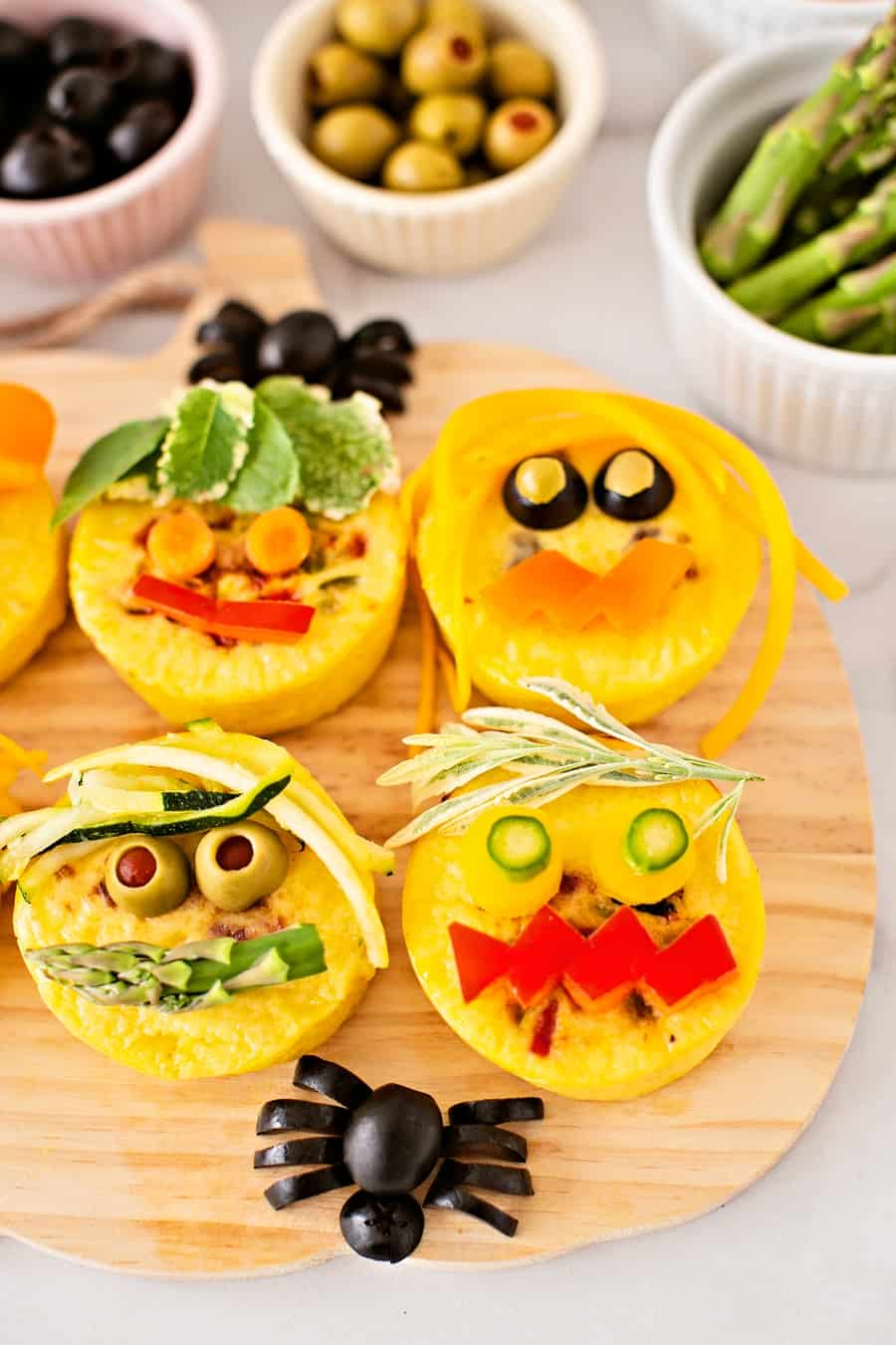 Three Bridges Egg Bites Monster Faces Cute Halloween Snack or Lunch for Kids